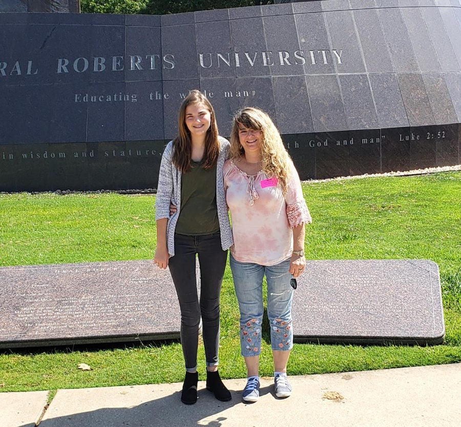 Barrington and her mother pose for a picture at Oral Roberts University. She plans to attend the university after graduating high school.