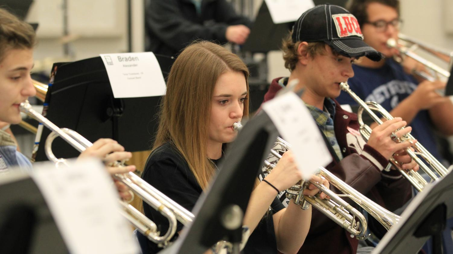 Senior Carrie Weaver practices with the concert band. She was one of the trumpets from Lindale to attend the clinic.