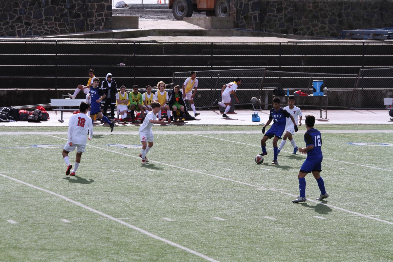 Junior Solomon Saboia gets ready to kick the ball. The team had a scrimmage game on December 31.
