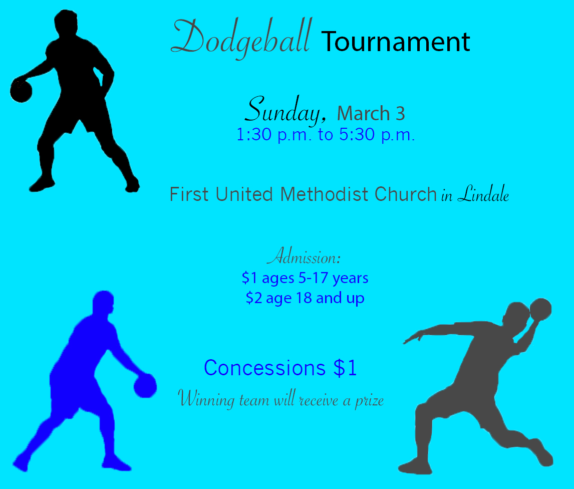 There will be a dodgeball tournament at the First United Methodist Church in Lindale Sunday. The event benefits the senior trip to Six Flags in May.