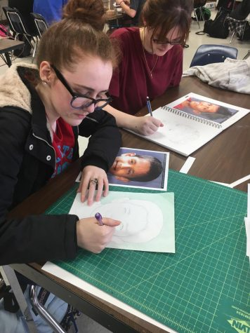 Student Artists Draw Portraits for Child Refugees
