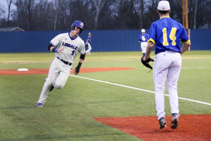 Senior Chase Rozell runs to third base. The team won 3-2.