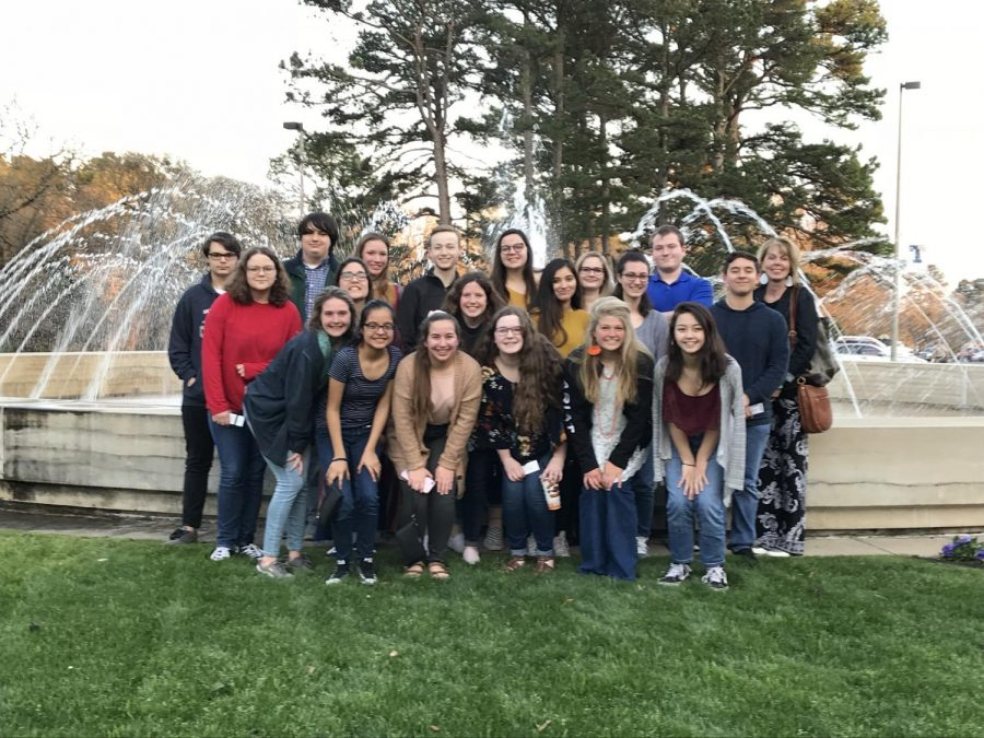 The AP United History Class takes a group picture after attending a lecture by Dan Rather. The class received the tickets through a Boylan grant.