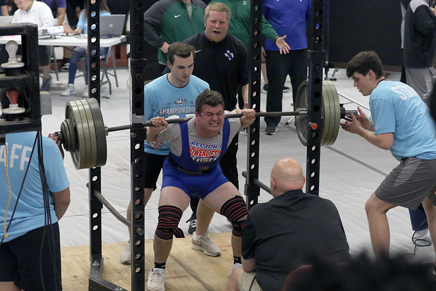Nick Gregory at the Robert E. Lee powerlifting meet. He qualified for the state powerlifting with a score of 1400.  Photo courtesy of Neda Morrow.