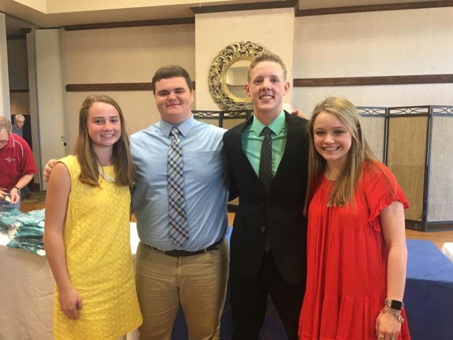 (From left to right) Jacey King, Luke Sandifer, Tyler Thompson and Bethany Deupree attend the annual Sophomore of the Year ceremony. Deupree is this year's recipient.