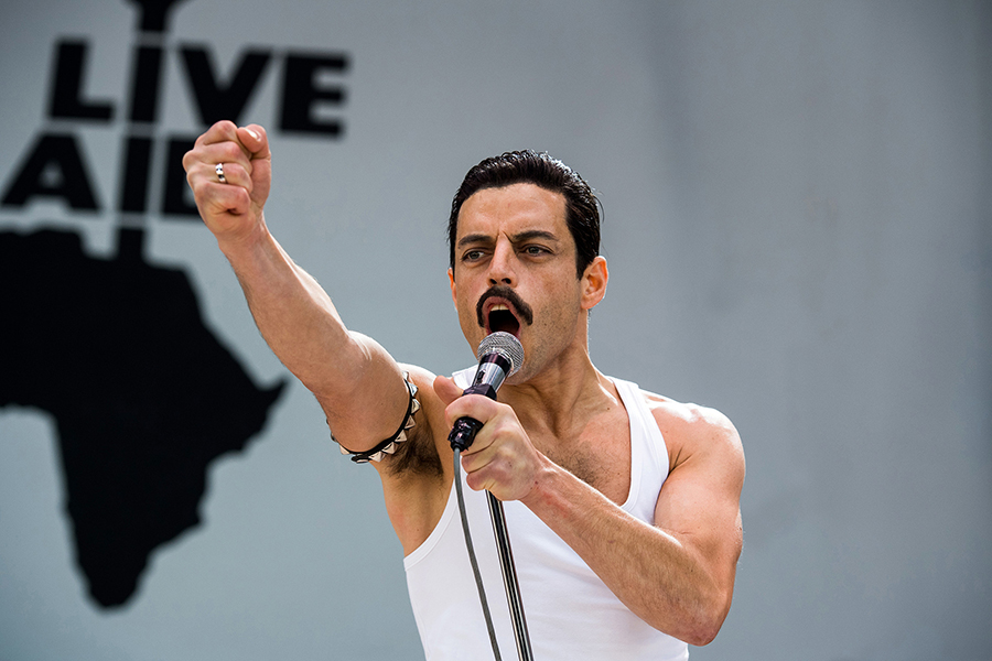 Rami Malek preforming as Freddie Mercury. Photo by Alex Bailey at Twentieth Century Fox. https://www.rollingstone.com/music/music-news/bohemian-rhapsody-sequels-queen-806651/