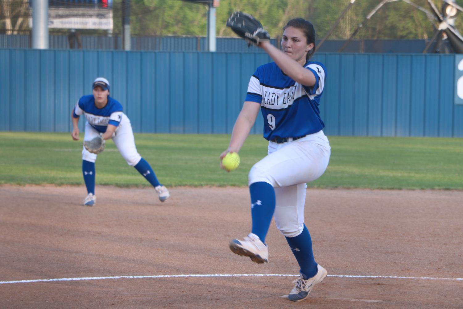 Senior Hannah Knox winds up to pitch the ball to an opposing player. The varsity softball team will play their bi-district game Thursday against Hallsville after clinching a spot Friday.