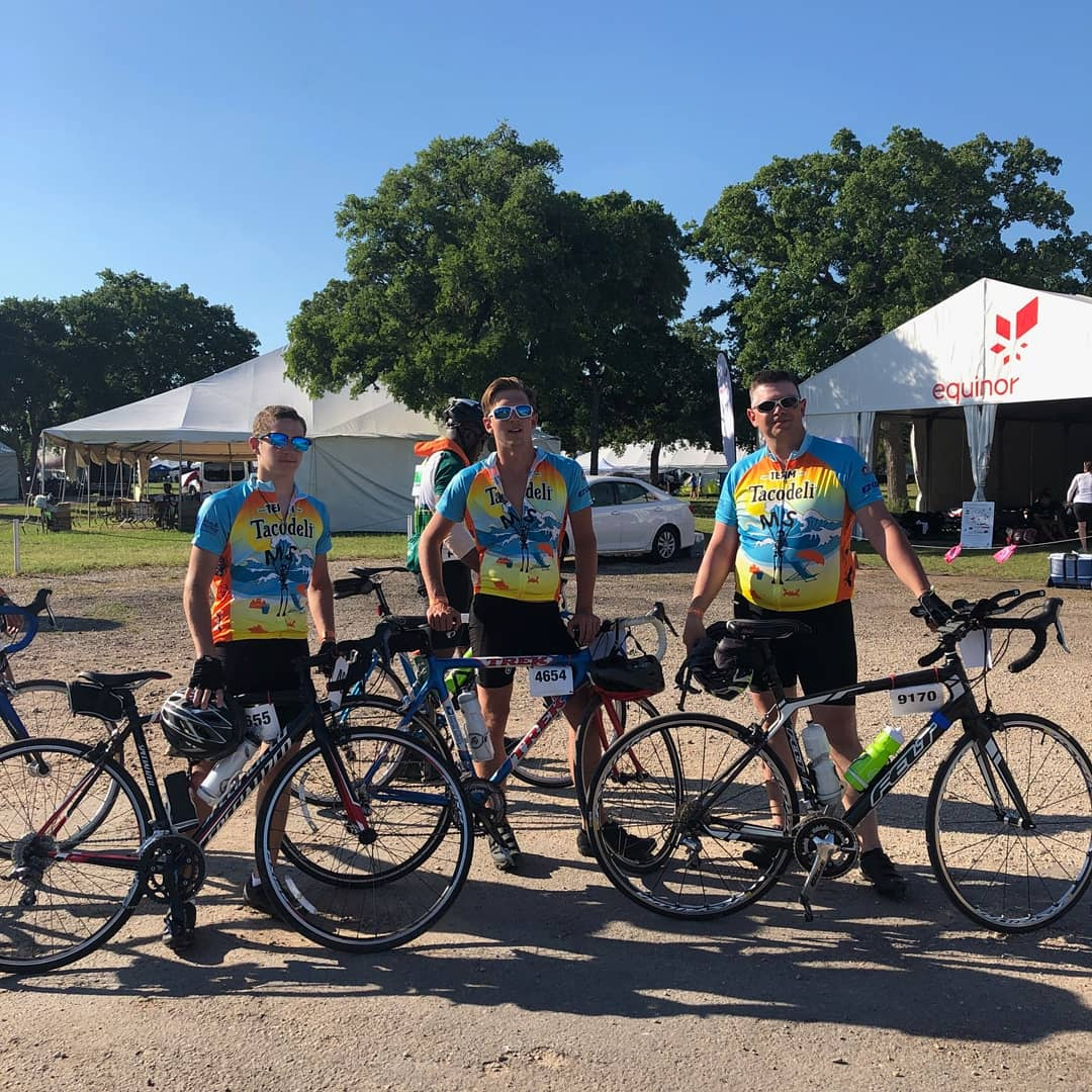 Noah and his team pose with their bikes before the Ride for MS. This is their second year participating in the ride from Houston to Austin.