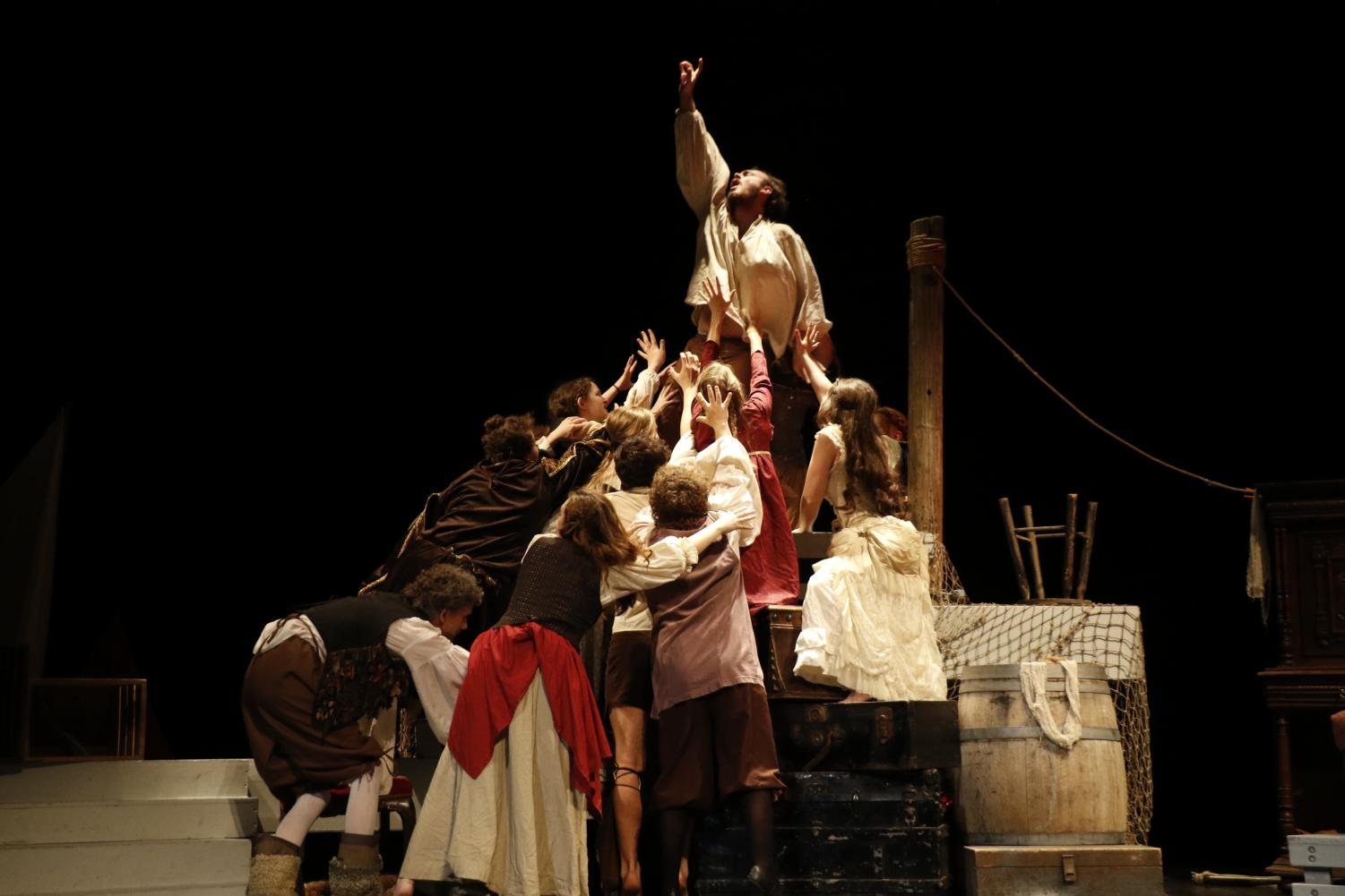 The theatre team performs their production of Mariner. This play is focused on Christopher Columbus, whoo is performed by senior Evan Howell.