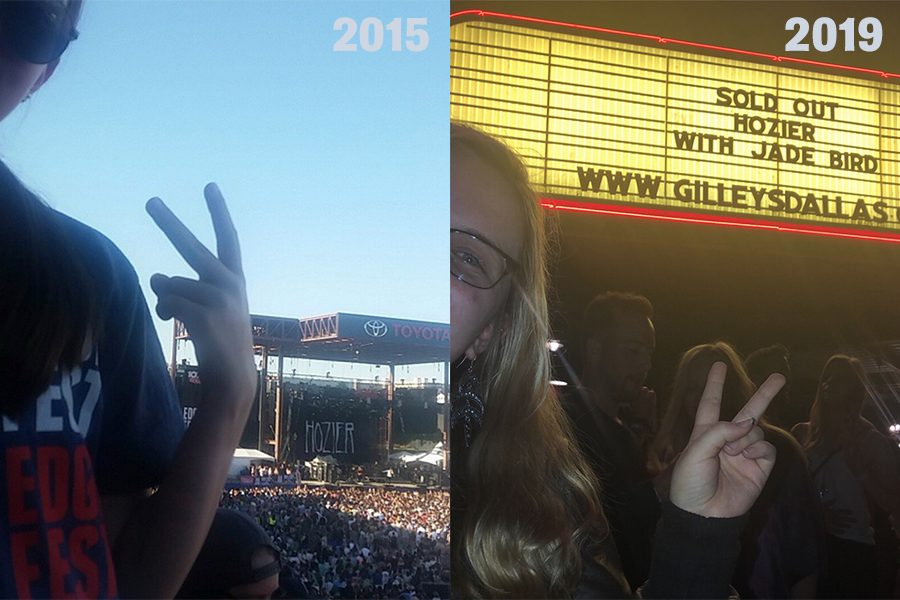 A+side-by-side+comparison+of+my+first+and+most+recent+Hozier+concert.+I+saw+him+at+a+festival+in+2015+and+again+during+his+headlining+tour+in+2019.