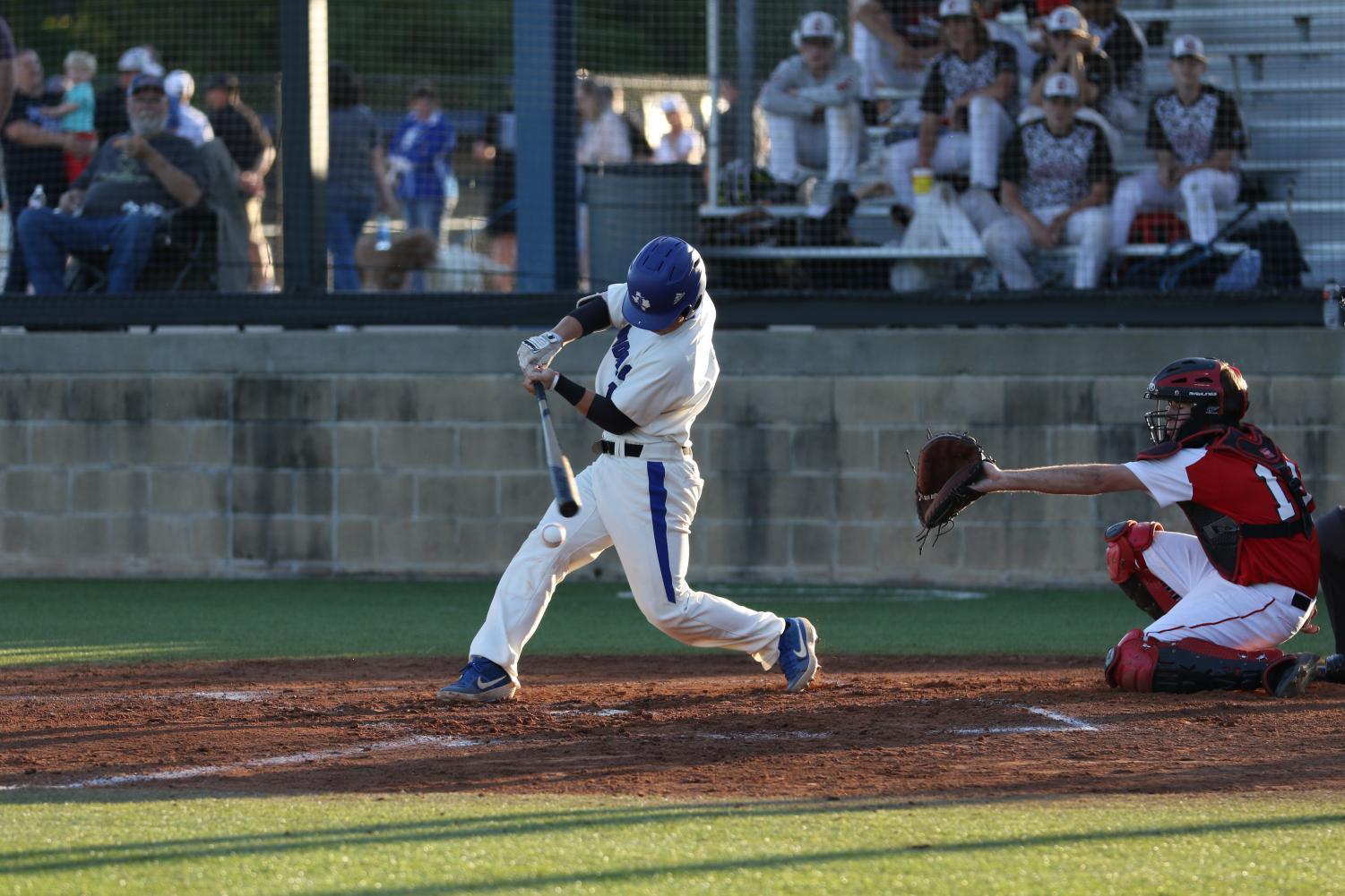 Junior Matt Aubuchon takes a swing at a pitch in the Eagles' final district game of the season. They were named the District Champions following the game and will play Nacogdoches Wednesday, Thursday and possibly Saturday.