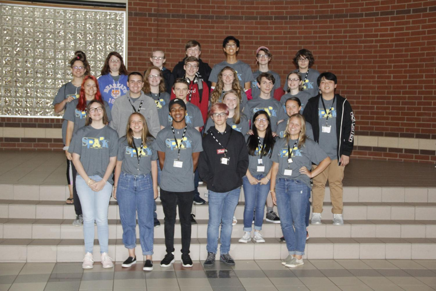 The members of the Lindale newspaper and yearbook staffs pose for a picture. They attended a workshop Wednesday and Thursday.