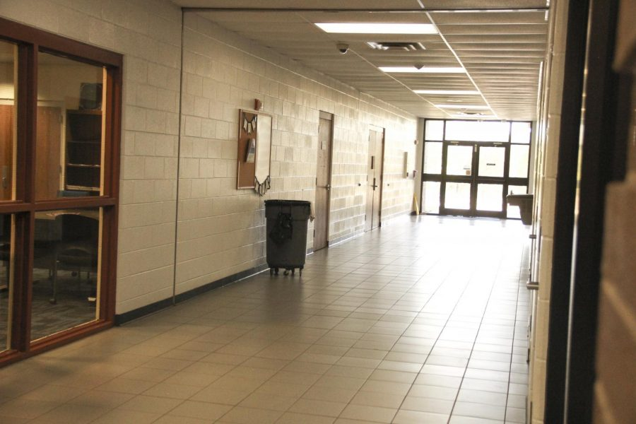 Science classes will now exit through this hallway and stand in front of the Performing Arts Center. This will be in place until construction ends.