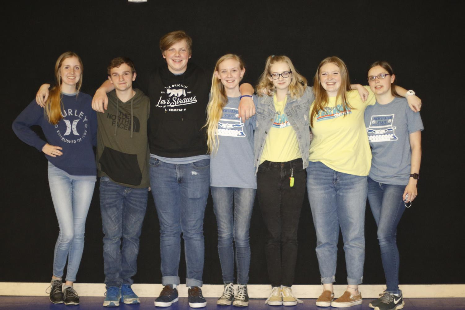 UIL journalism students stand together after their district competition. From here, alumni Bailey Spencer went to win feature writing at UIL state.