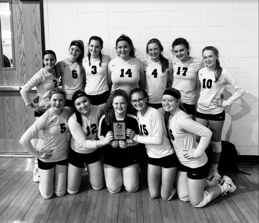 The+freshman+volleyball+team+poses+with+their+plaque+following+a+tournament+in+Quitman.+They+placed+third+at+the+event.
