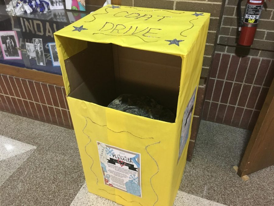 The Coat Drive Donation Box stands in the foyer afterschool only a few days after the campaign was started. Im really excited to see the joy and appreciation emitting from the kids when we give them these new coats. The coat drive is one of the most rewarding campaigns we do, Student Council parliamentarian Kevin Willis said.