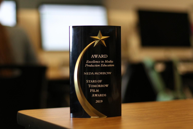 Neda Morrow received a film award from Sam Houston State University over the summer for mentoring the festival winner through the LHS A/V program.