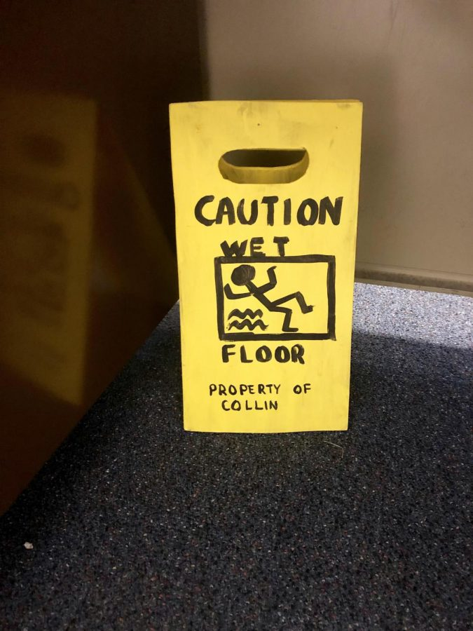 Megan Bolwerk's son received a custom wet floor sign recently.