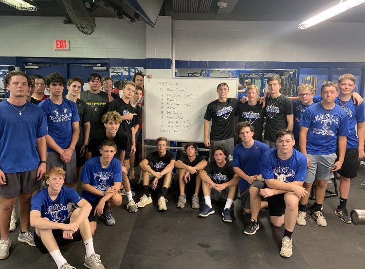 The baseball team moments after completing their workout.  They were hoping to honor those who fell during the attack of the Twin Towers 18 years ago.