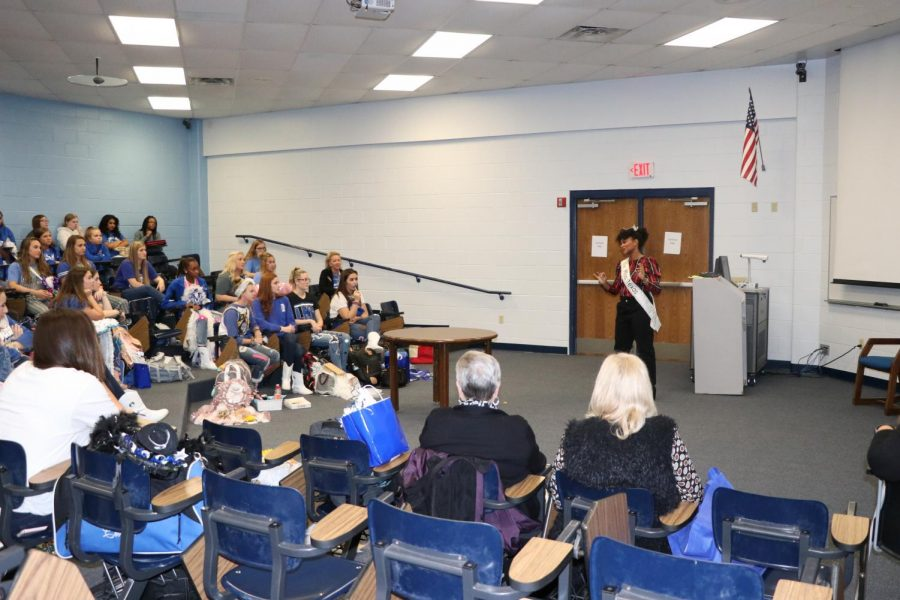 Miss Texas speaking to the Drill Team. She came during fourth period to talk about the importance of embracing oneself.