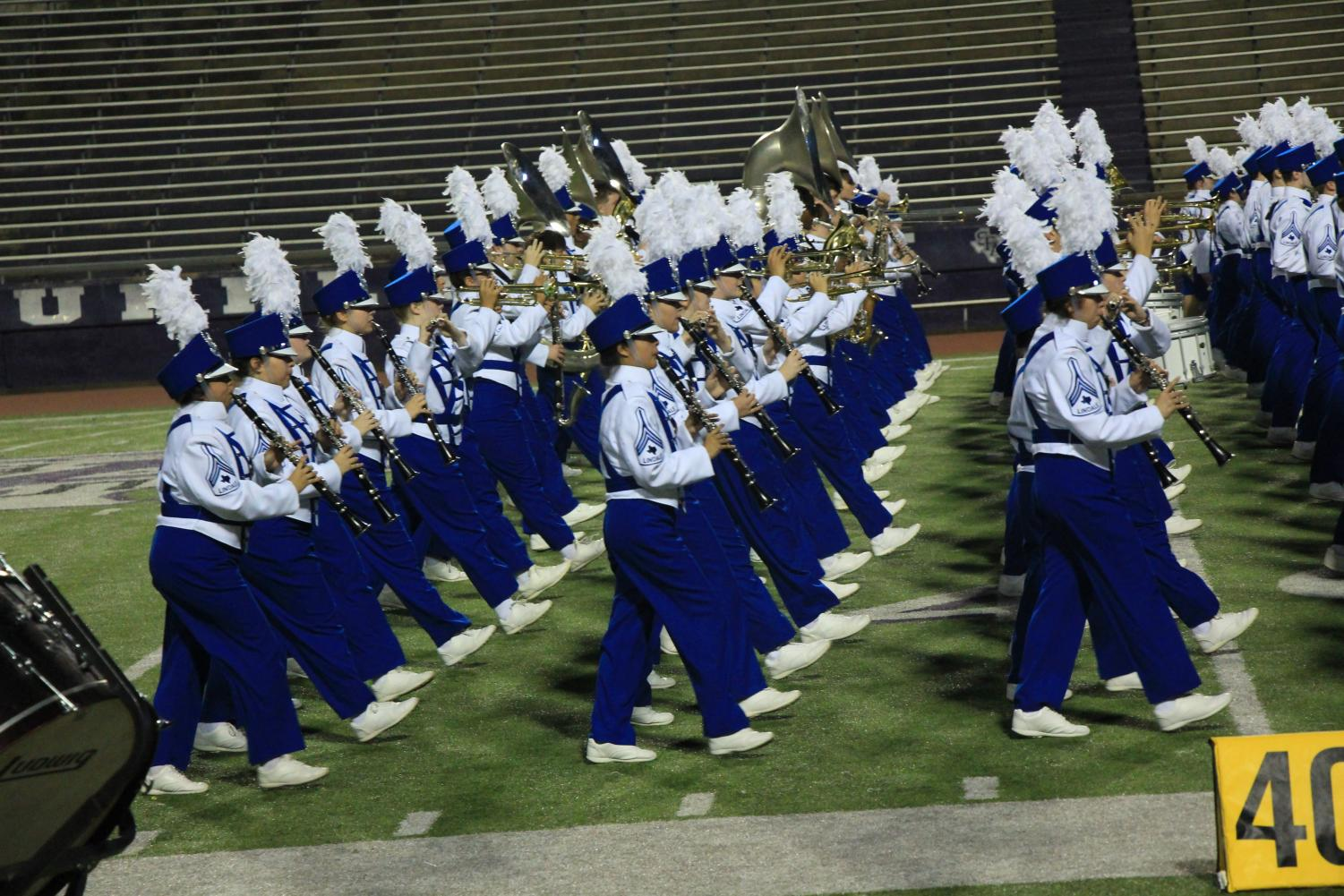 The Pride of Lindale performs their drill at the UIL Region Contest at Stephen F. Austin State University. The band received a first division rating for the 45th consecutive year.
