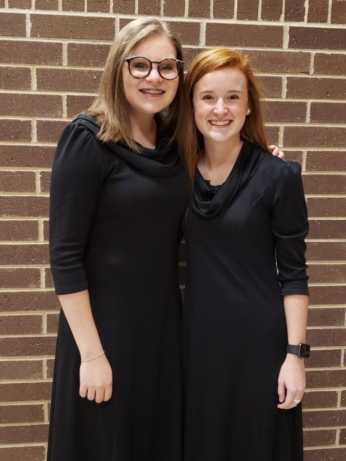 Junior Elizabeth Stone and Chloe Harbuck together at orchestra. They had an all-region orchestra concert in Longview.