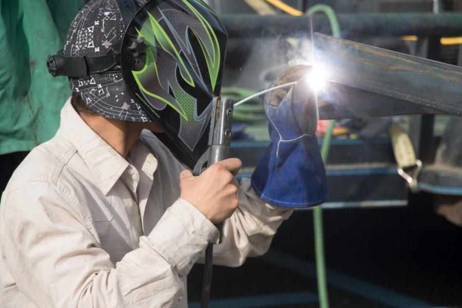 Student welds pieces of trailer together during competition. This build off involved seven schools as well as Lindale.
