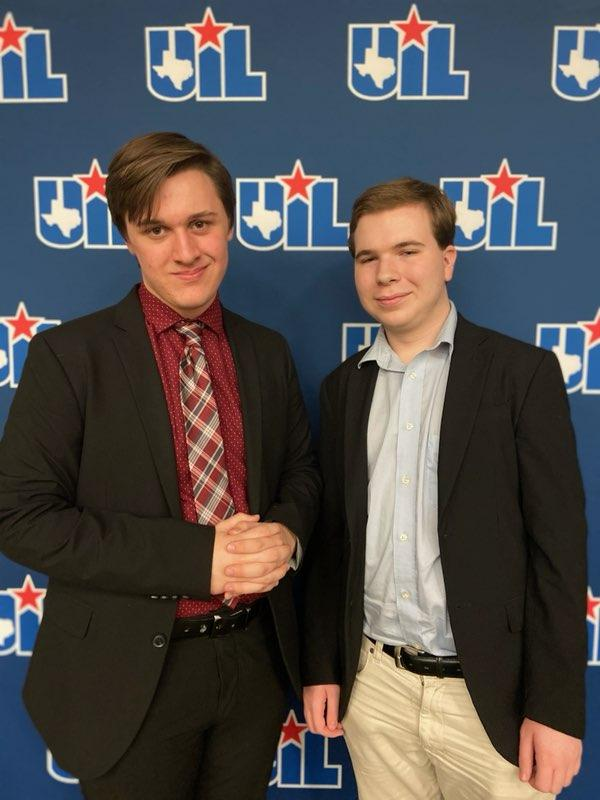 Juniors Zach Jones and Josh Smith poses for pictures after competing. Both students progressed to finals of UIL Congress State.