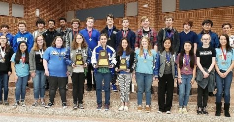 The UIL Academics competitors pose for a picture with their plaques and medals. The teams as a whole won sweepstakes (1st place) at the event.