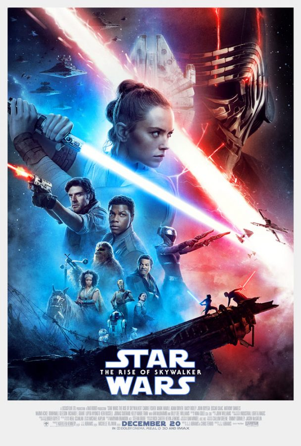 The official movie poster for Star Wars: The Rise of Skywalker. The film is directed by J.J. Abrams.