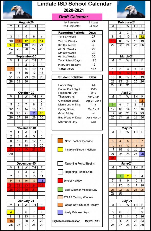The proposed calendar for 2020-2021