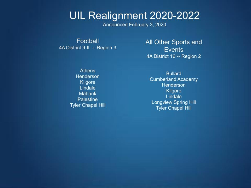 The new districts Lindale is in beginning in August 2020. Lindale will drop to 4A because of the biennial UIL Realignment.