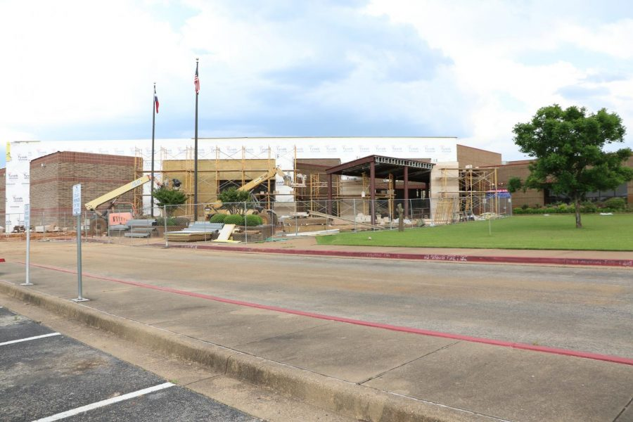 The front entrance of the highschool mid-construction. Bond construction is set to finish in August