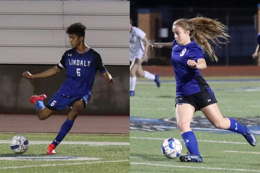 Senior Solomon Saboia takes a kick to pass it to a teammate. Sophomore Emma Bosworth dribbles the ball as she heads up the field.