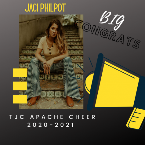 Congratulation post from the TJC Apache Cheer Facebook page welcoming Senior Jaci Philpot as a new member.