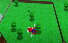 This is a screenshot from Super Mario 64. This is the oldest game of the trio, as well as the first three-dimensional Mario title.