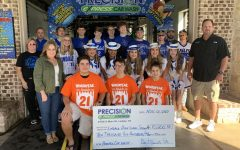 Students who worked in the Haunted Car Wash stand behind the check they got with a total of 10,200 dollar.