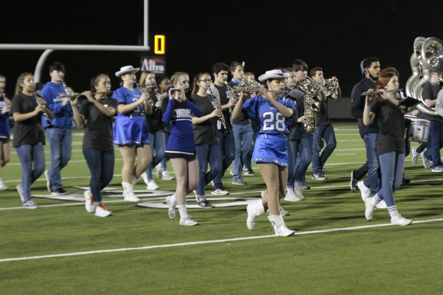 The Pride of Lindale marches at the game against Chapel Hill.  The band will compete at the state military contest on Wednesday, December 9.