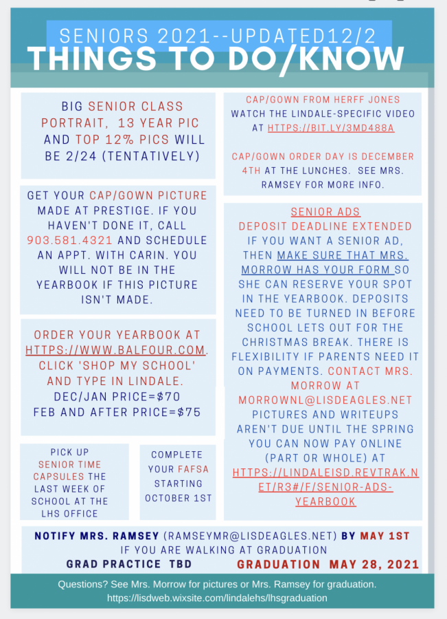 Updated Senior 'Things to To Do/Know' Information as of 12/2/2020