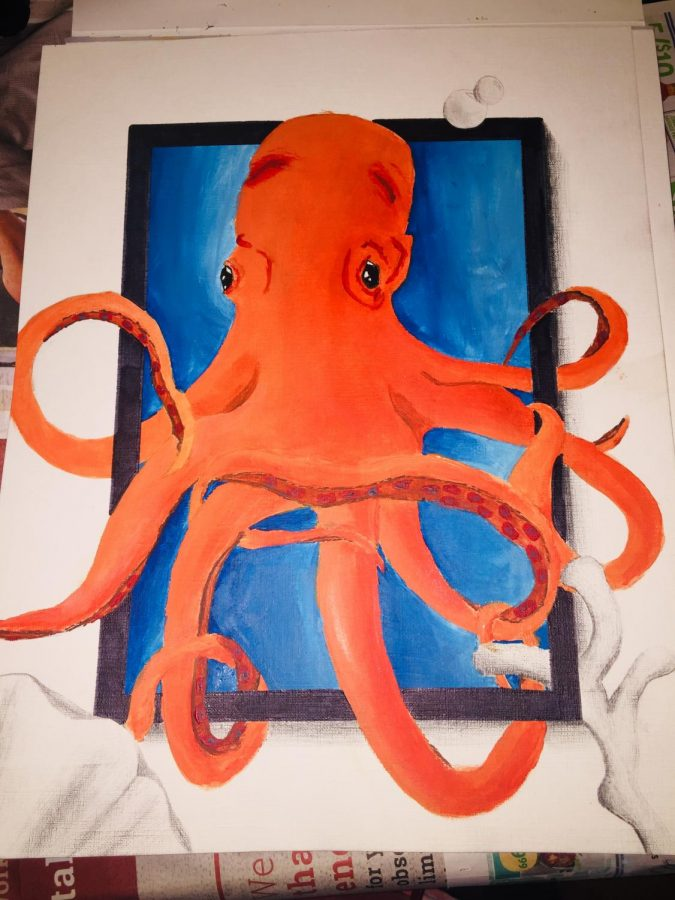 This is an octopus created with acrylic paints and with graphite on the outside.
