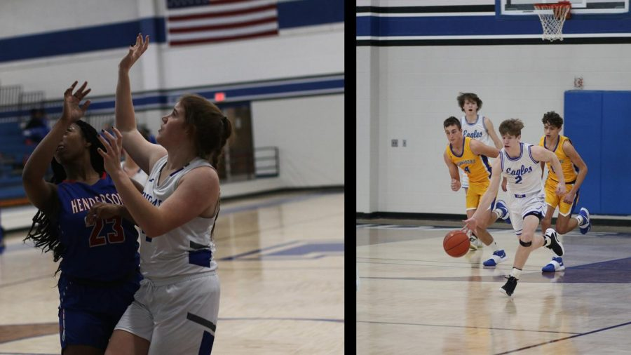 Seniors Elizabeth Hutchens and Colton Taylor both compete on the varsity basketball teams.