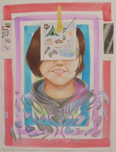 This piece was created by Jocelyn Castillo in 10th grade titled Memories and was awarded third place.