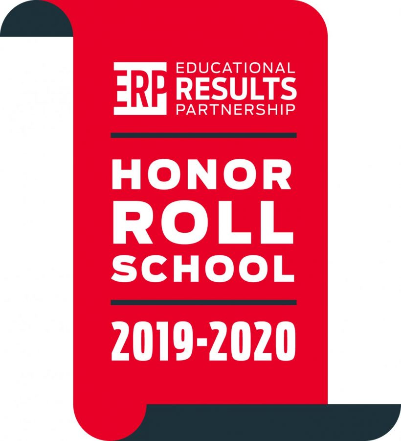 The Educational Results Partnership Honor Roll Logo.  943 schools across the state were chosen due to their success in math, language arts, and science.