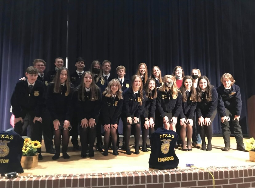 The Lindale FFA gather to take a photo after the Mineola District Convention at Bullard High School.