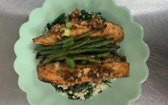 Senior Beckah Doss' honey chile salmon dish. She won the competition with this dish.