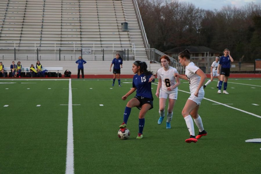 The Varsity girls soccer team play against Cumberland. They won 8-0.