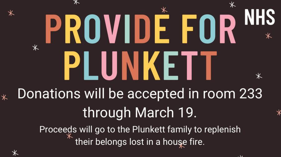 NHS hosts fundraiser for the Plunkett family, who's home burned down on February 25. It will end this Friday, March 19.
