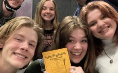 Seniors Cameron Hilliard, Allison Somes, Sonny Mauldin, Kayleigh Horstkamp and Ben Watters pose for a picture during auditions. Tentative show dates are May 13, 14 and 16,