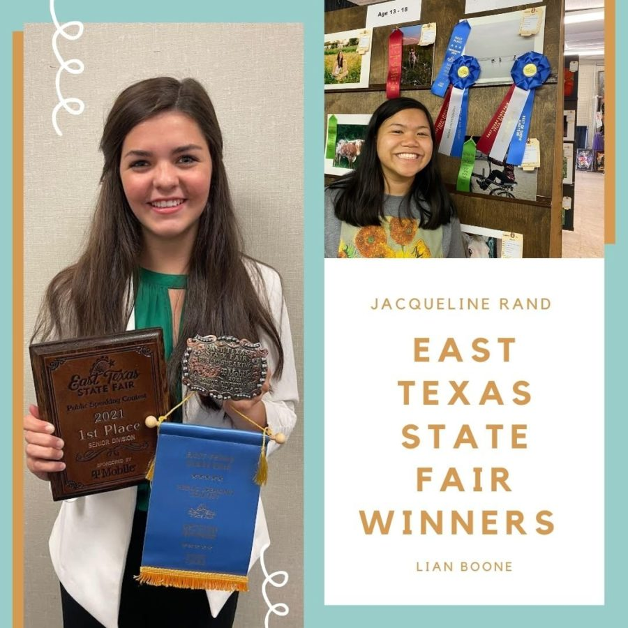 Pictured to the left, junior Jacqueline Rand poses with her awards. On the top right, senior Lian Boone poses with her winning photo.