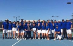 Lindale Varsity Tennis team poses with their regionals trophy. The team got second overall. Photo courtesy of Lindale Tennis